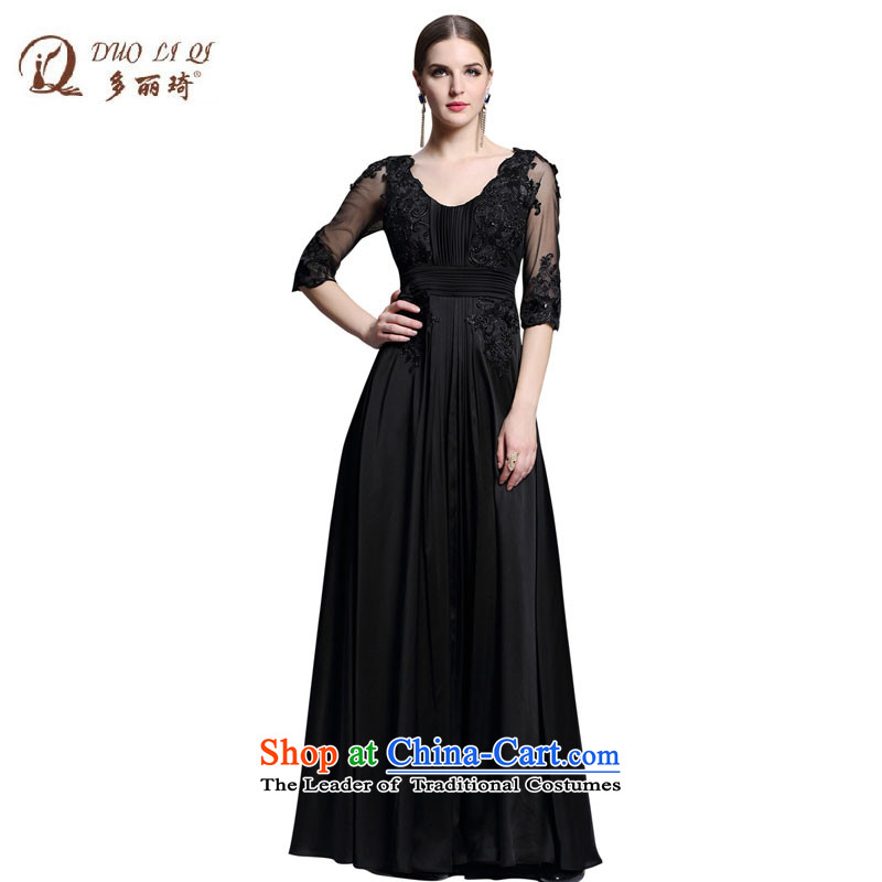 Doris Qi evening banquet in black waist evening dress for the seven U-sleeved long skirt Sau San Xia 31340 black?L