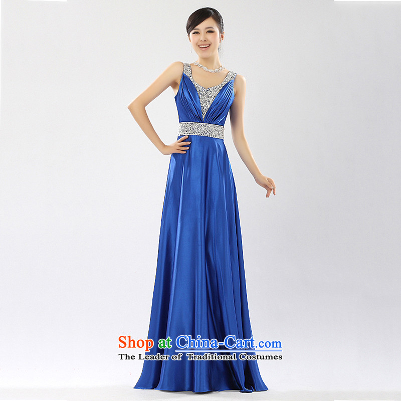 Summer 2015 new long stylish shoulders evening dresses bride bows services chorus services moderator dress female?XXXL blue