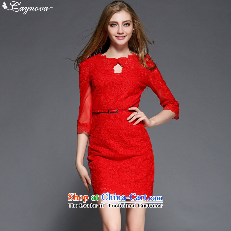 Load New caynova2015 autumn western style yarn web embroidery Sau San video thin red dress�S