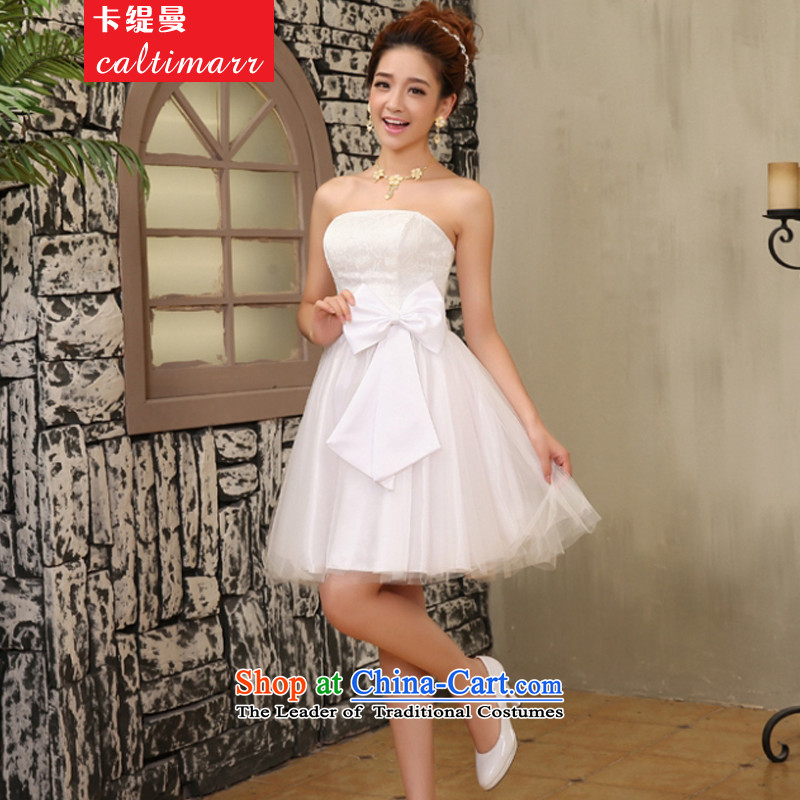 The Amman New Economy of card bridesmaid Dress Short of small sister small dress bride bows to small Sau San dress?2FJD?White