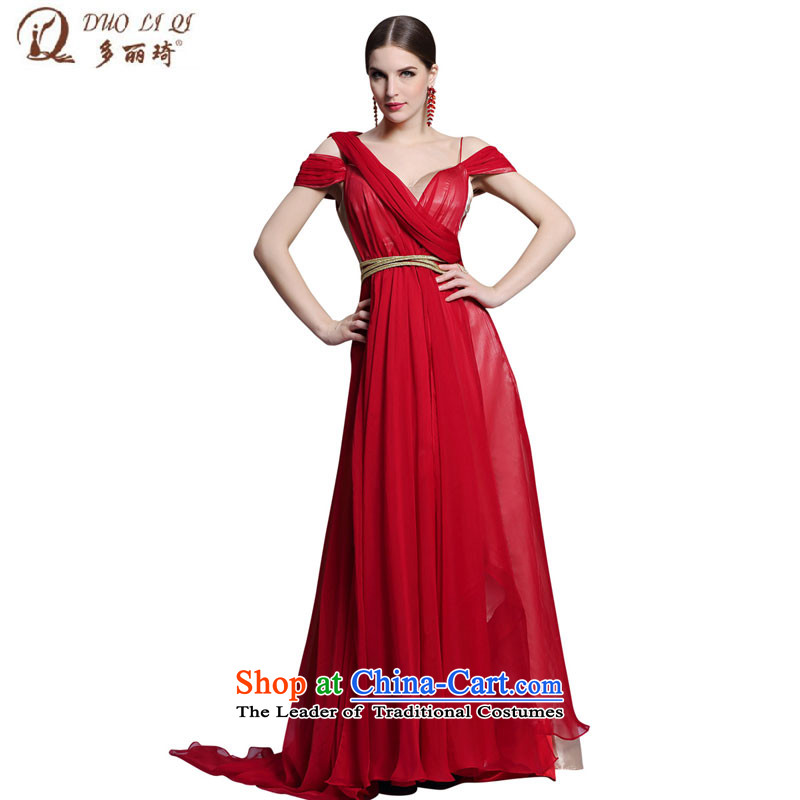 Doris Qi bride evening dresses back large small red tail�V style serving 31346 Red�XXL toasting champagne