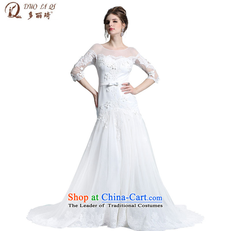Doris Qi Summer Wedding dress in Europe white tail evening performances in moderator cuff 31358 White?M long skirt