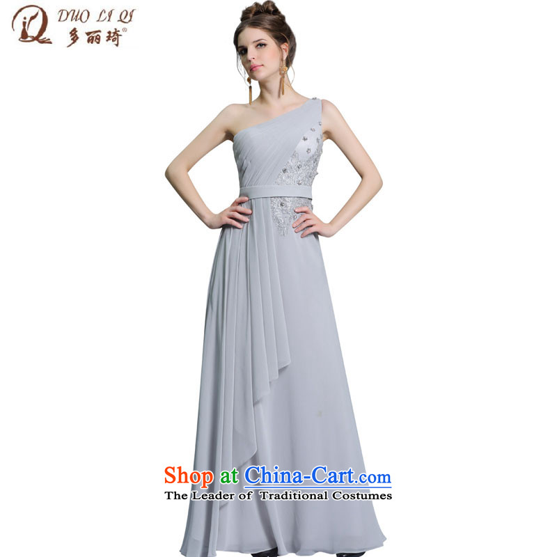 Doris Qi summer new dresses long skirt shoulder gray long evening dress who decorated banquet night) 31367 gray?XL