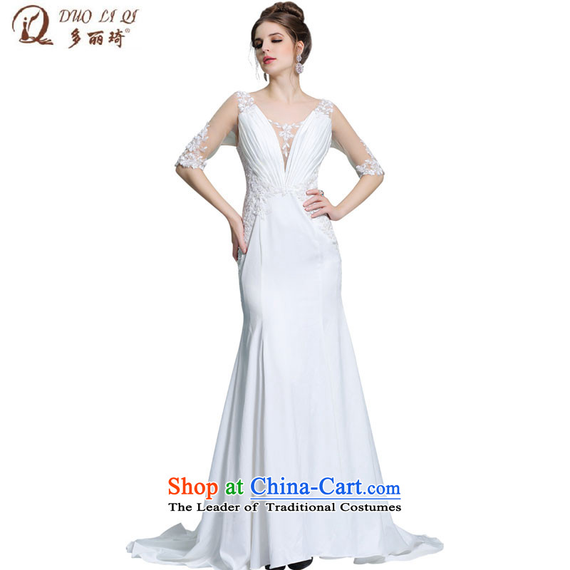 Doris Qi White gauze deep V-neck and tail of Sau San package shoulders dress skirt dinner dress summer Female 31372 Western White?XXL