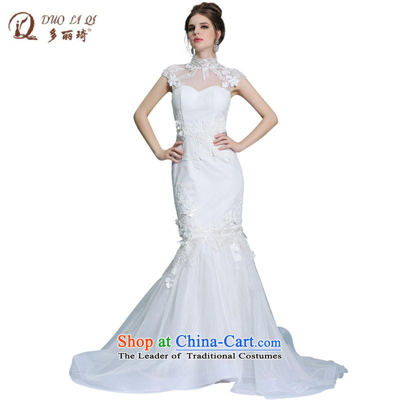 Doris Qi new wedding dresses western engraving collar dress Top Loin of Sau San long crowsfoot evening 31377 White XXL