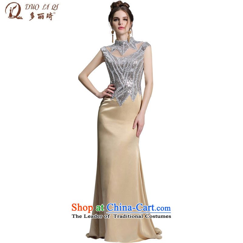 Doris Qi stereo rotator cuff silver aluminum foil evening dresses video and long, thin package dress�31388�map color�M