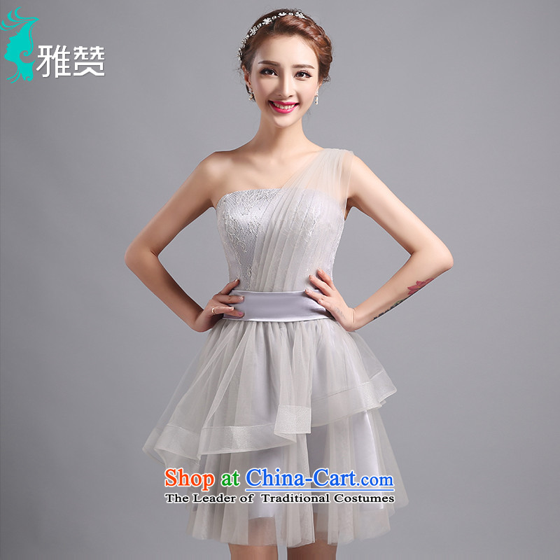 Jacob Chan bridesmaid shoulder dress short of the summer and autumn of 2015 the new lace dinner dance evening dresses Foutune of video large Sau San skirts thin Smoke Gray�S