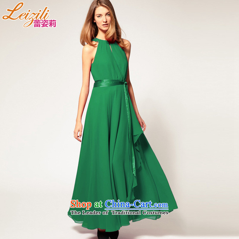 Lei Li summer leizili Gigi Lai and large foreign trade western swing sleeveless chiffon long skirt temperament bare shoulders frockcoat antique dresses large skirt long skirt green?M
