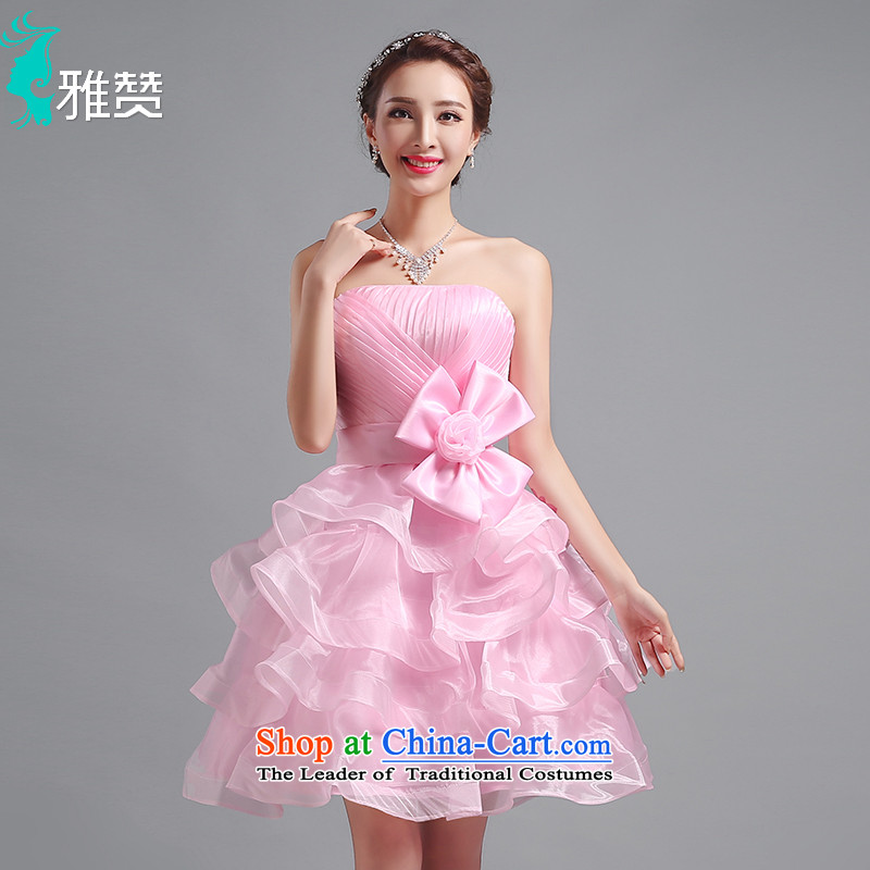 Jacob Chan bride Dress Short, wipe the chest bon bon skirt photo building theme clothing Sau San video thin new 2015 summer and autumn bow tie strap female pink聽M