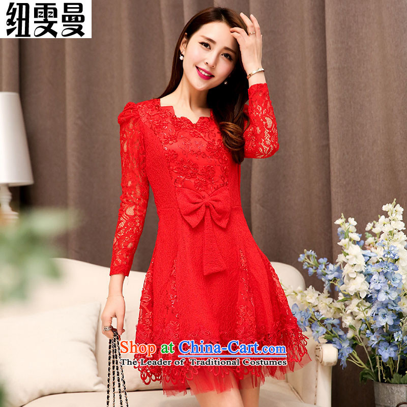Nz man married for 2015 Cayman ripple toasting champagne evening dresses engraving lace long-sleeved bridesmaid dress small red dress dresses red L