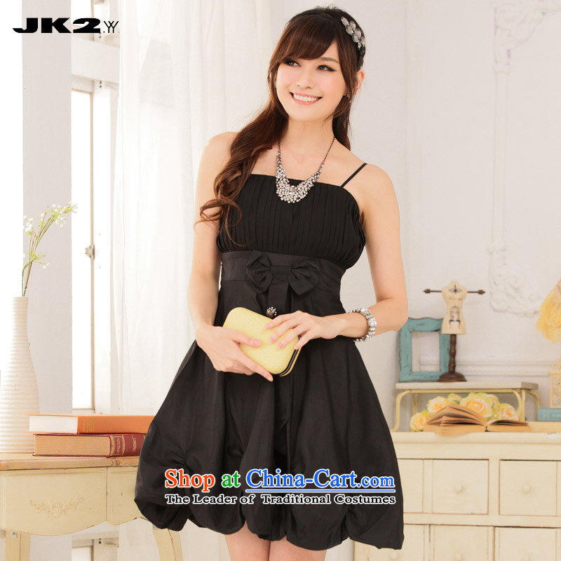 2015 new extracting Jk2.yy folds Foutune of lanterns skirt straps dress thick MM bridesmaid black uniforms Sau San?XXXL recommendations about 160