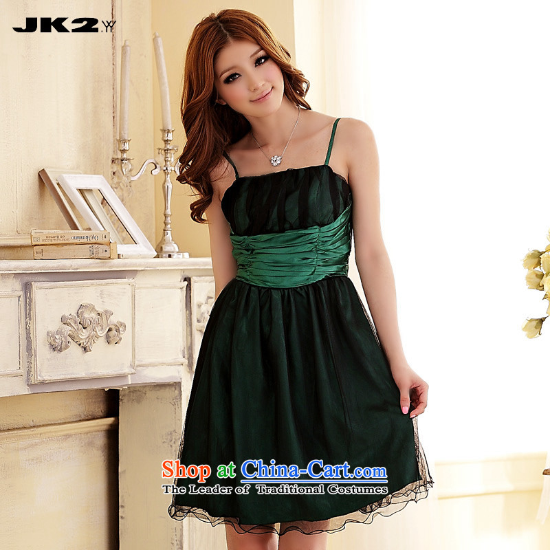 2015 large collision Jk2.yy color foutune gauze strap short of dress Sau San video bridesmaid services green thin are code