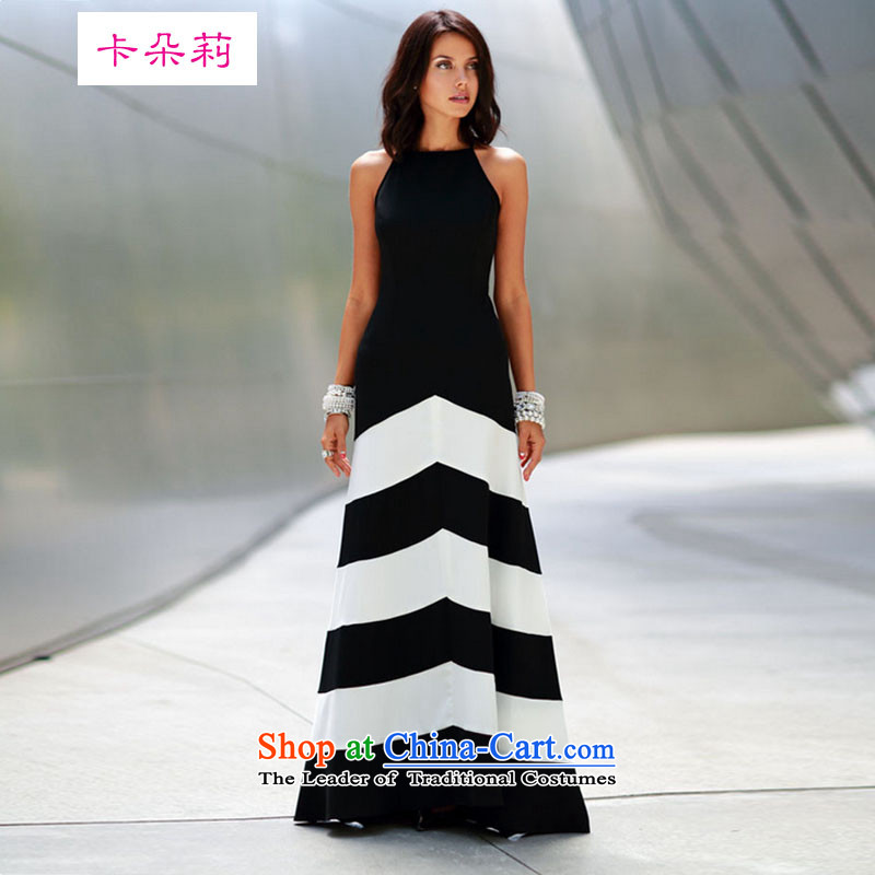 Card flower lei 2015 new monochrome streaks spell receive waist thin stylish sexy graphics long skirt dress Black聽XL