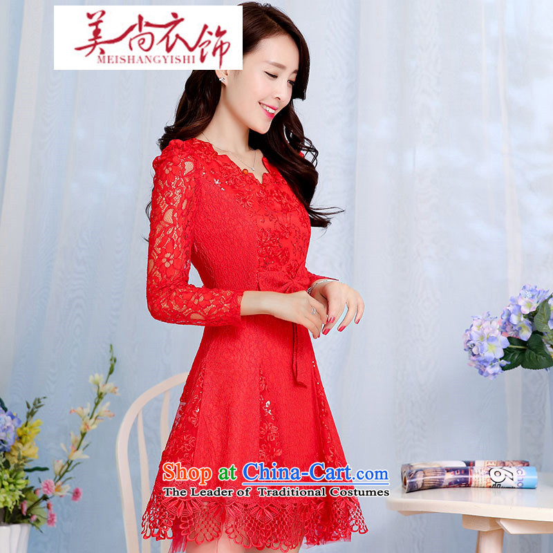 The Advisory Committee to the United States聽by 2015 China spring and summer Sau San lace dresses video thin clothes red marriage toasting champagne Bridal Fashion back door dress skirt red聽XXL