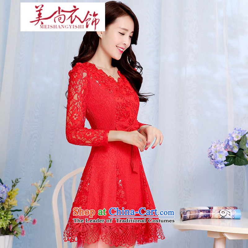 The United States is still clothing bows Service Bridal 2015 Spring/Summer in new long-sleeved red long wedding dress marriage evening dress the lift mast to female red?XXL