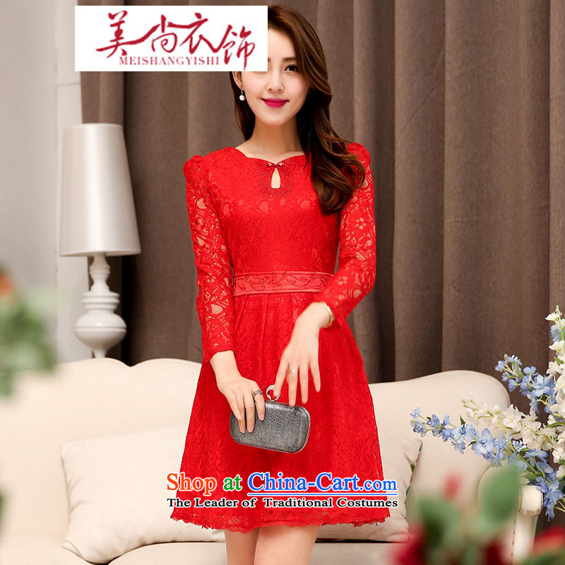 2015 Spring/Summer new lace Sau San bride wedding dress bridesmaid back door chairmanship of bows long skirt red?L
