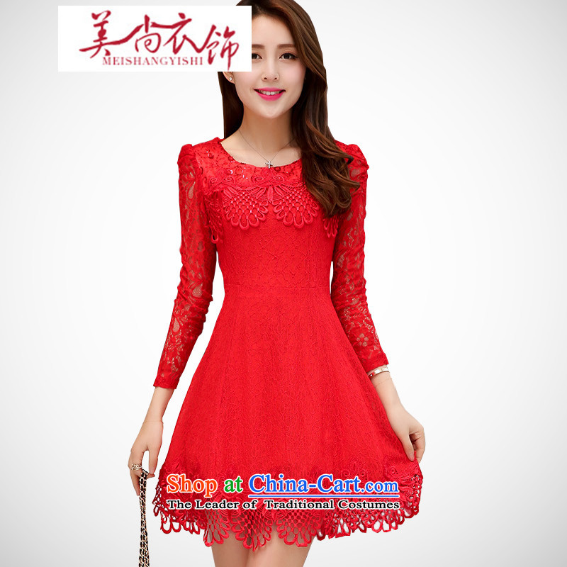 The Advisory Committee to the United States?by 2015 China autumn_ Bride the lift mast dress skirt dress 9 under the auspices of the Korean version of the Cuff Kits thin lace round-neck collar dresses RED?M
