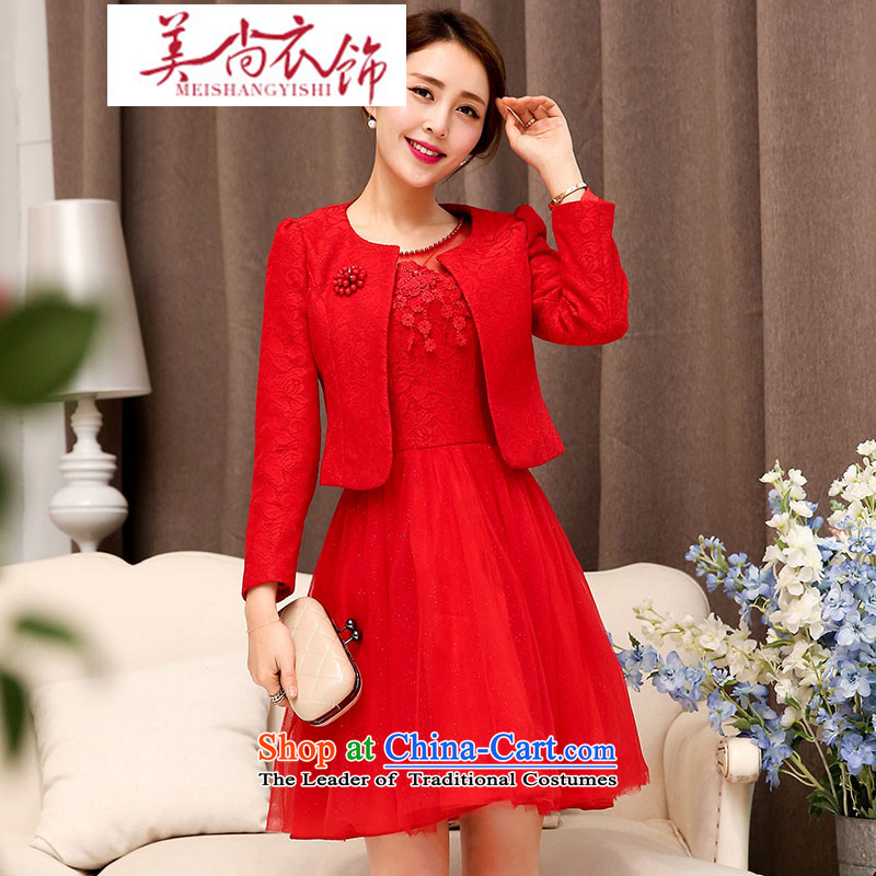 The United States is still clothing red bridesmaid dresses wedding dress marriage evening drink service short skirt lace bride with the new 2015 Red?XXL