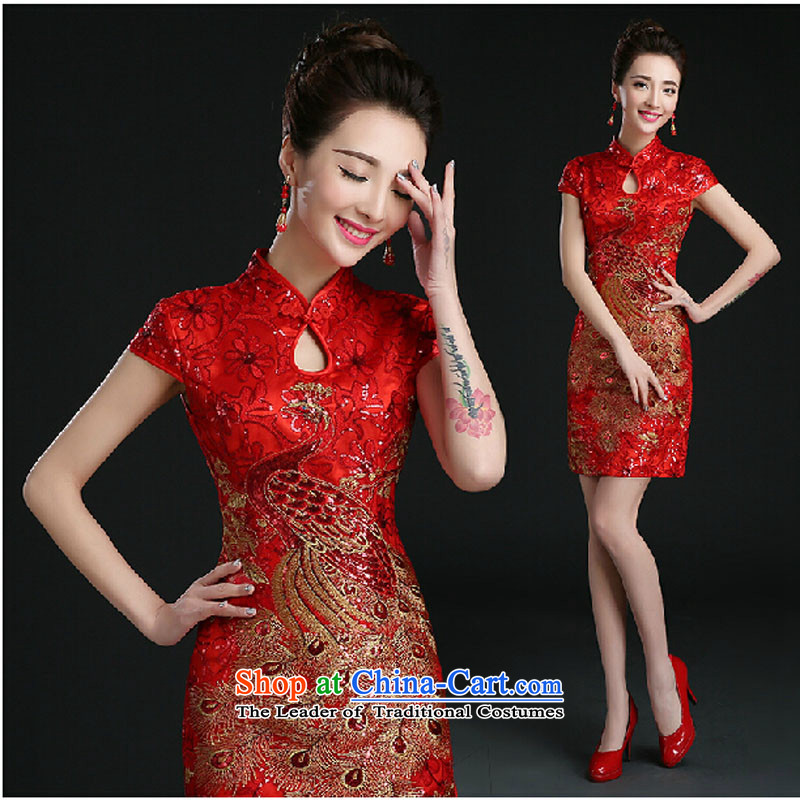 Pure Love bamboo yarn 2015 new red bride Wedding Dress Short of evening dresses evening drink service red shoulders Sau San qipao red?XL