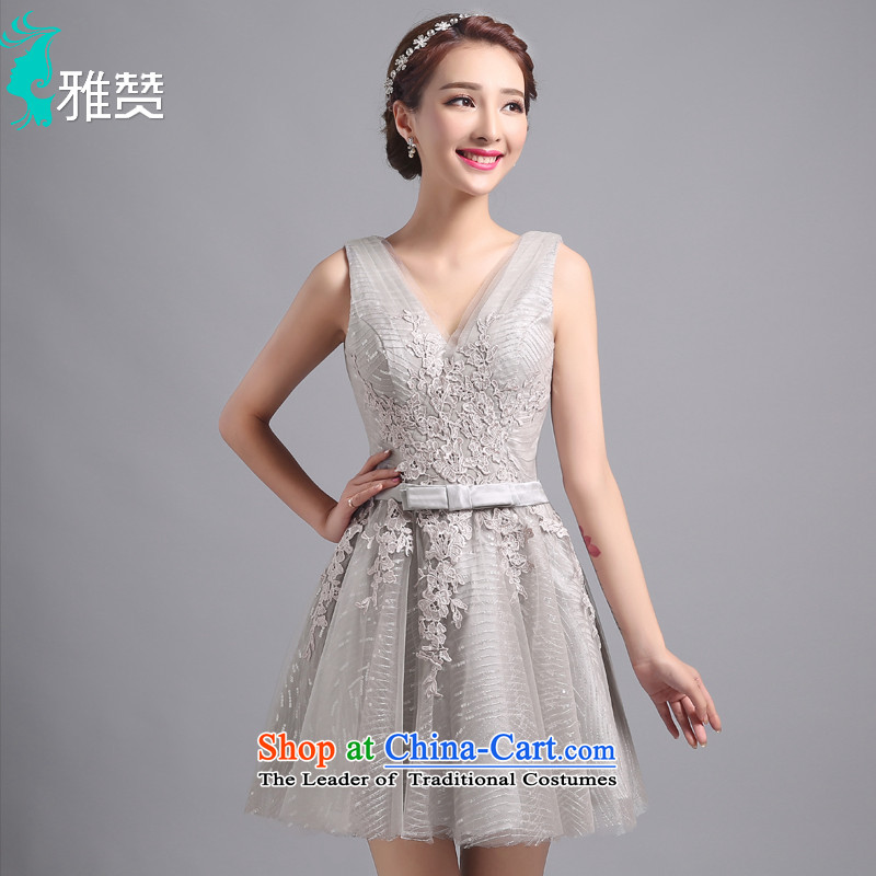 Jacob Chan short of the summer and autumn of 2015, a new dress concert service female Foutune of video thin banquet dinner dress shoulders V-Neck bow tie strap lace skirts,�XXL
