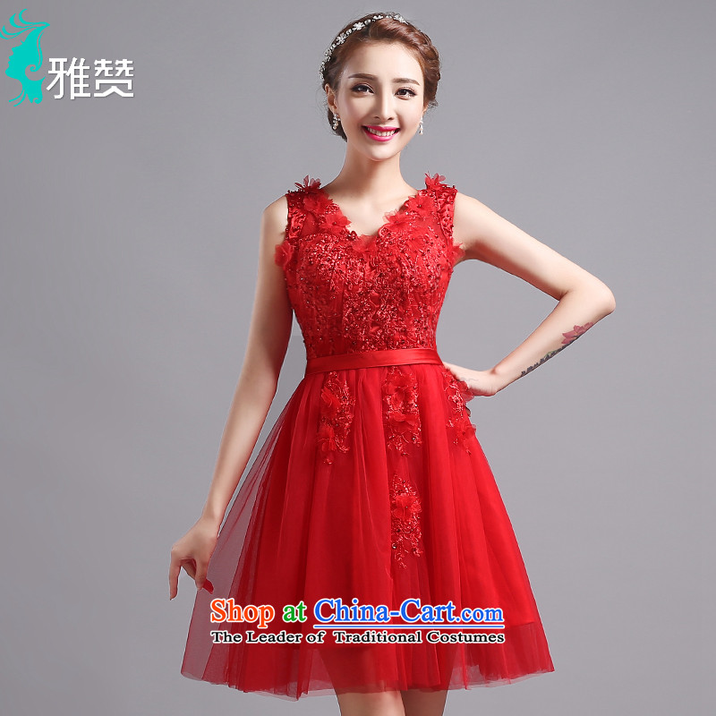 Jacob Chan bride wedding dress wedding services short-bows shoulder the new summer and fall of 2015, the lace on chip banquet evening dresses RED?M Strap