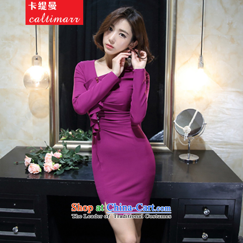 The Cayman? 2015 Autumn card economy with Korean version of the new girls who decorated aristocratic sexy long-sleeved package and dresses temperament dress purple?L