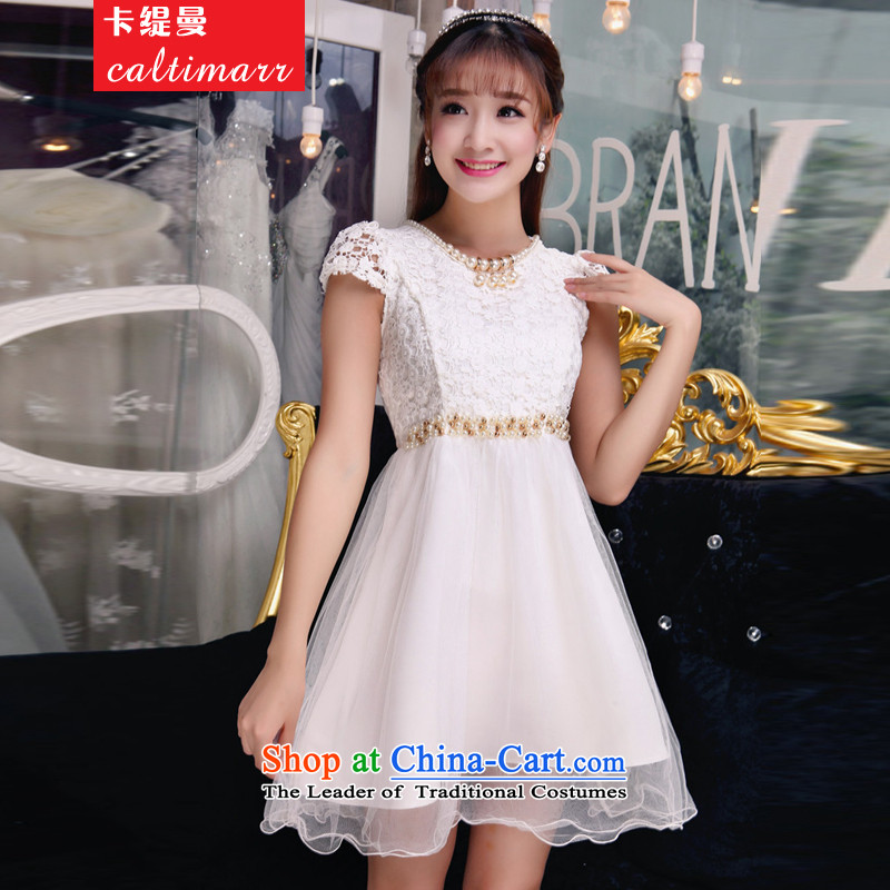 The Cayman?2015 Autumn economy card manually staple pearl diamond temperament and Sau San chest dresses bridesmaid groups dress skirt?8FFM?White?M