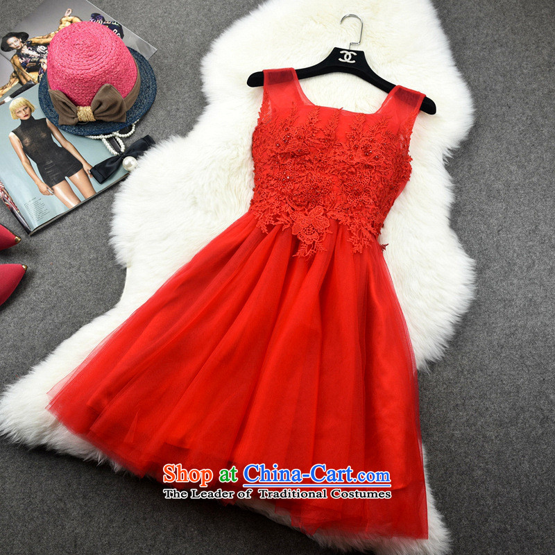 The new name of Hamilton 2015 yuan temperament bride bridesmaid, declares manually staple bead bon bon dress skirt already 10,582 Red XL