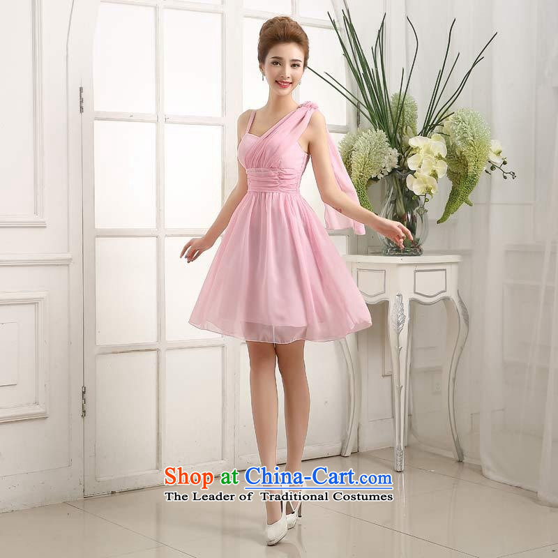 Mano-hwan's new small dress skirt bride bridesmaid mission dress dance performances under the auspices of Hamor banquet chest evening dress short, champagne color XL