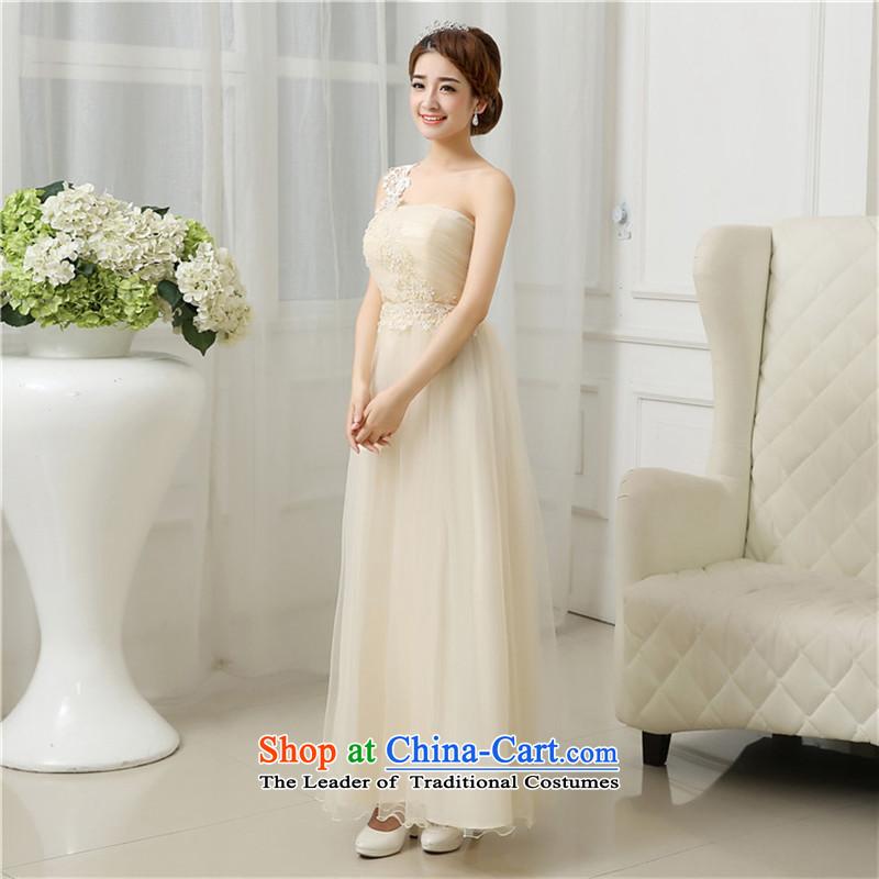 Mano-hwan's 2015 new bridesmaid small dress bride dinner drink service bridesmaid skirt nail-ju long gown, skirts purple聽XL
