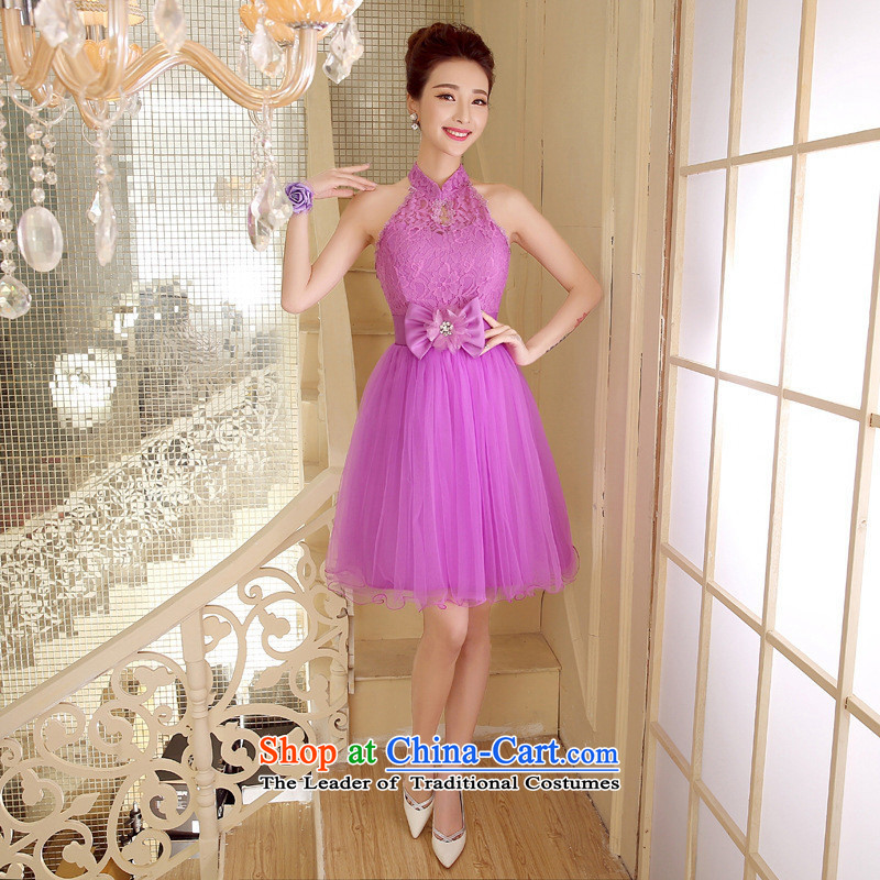The short-hwan, bride also dress marriage performances hang bon bon skirt bridesmaid dresses summer small dress violet XL
