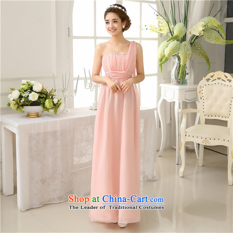 Mano-hwan's long skirt nail pearl single sister shoulder bridesmaid skirt sister services Korean bows services Pink dresses are code