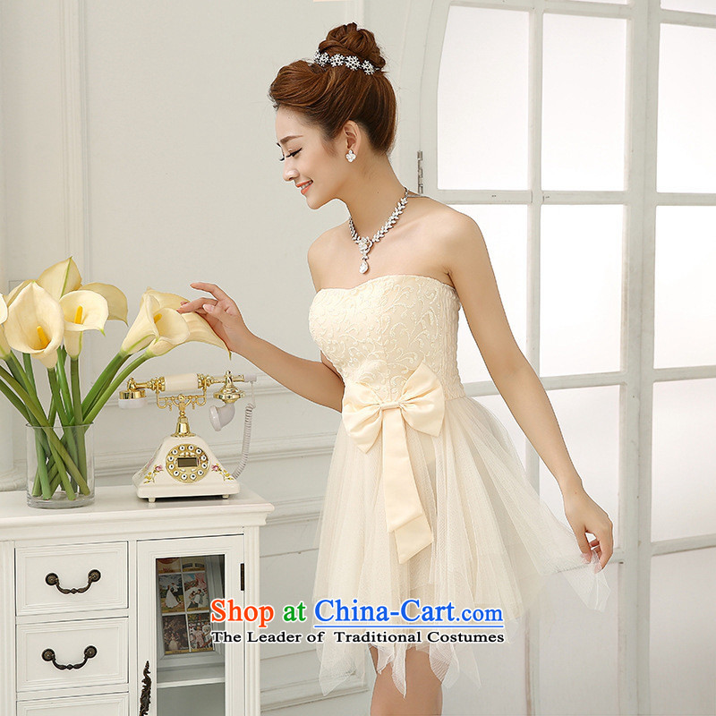 Mano-hwan's 2015 new twine bow knot sister skirt small dress bridesmaid anointed chest dress uniform load bride champagne color are code