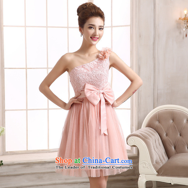 Mano-hwan's new bridesmaid mission small dress shoulder lace short skirt single sister shoulder bride bon bon skirt bridesmaid dress Beveled Shoulder champagne color are code