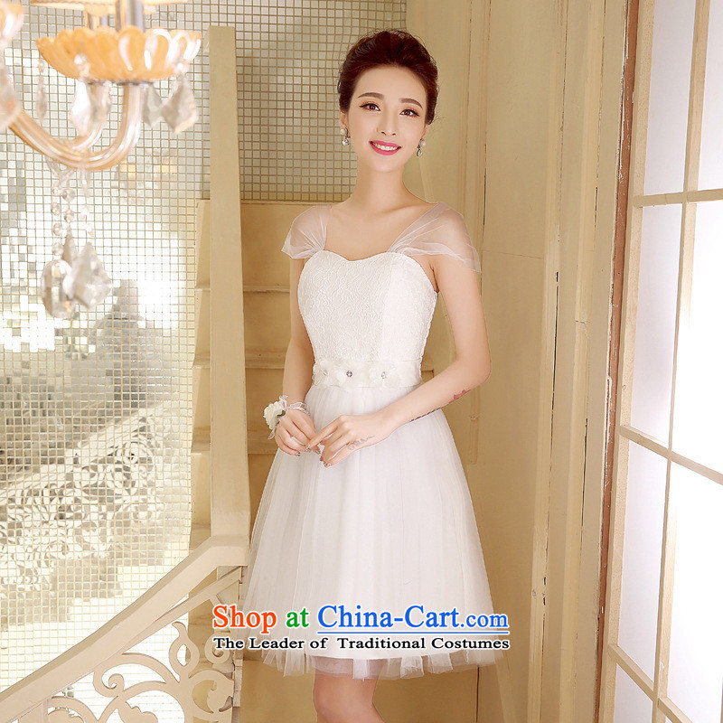 Mano-hwan's 2015 new bride bows services bon bon skirt bridesmaid Dress Short) Moderator evening dress Company Annual White�XL