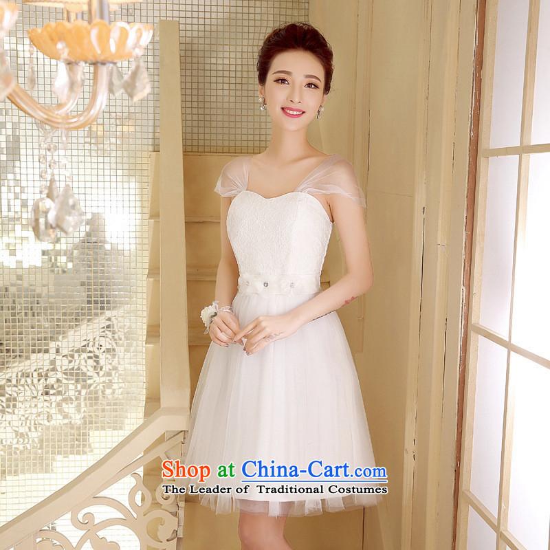 Mano-hwan's 2015 new bride bows services bon bon skirt bridesmaid Dress Short_ Moderator evening dress Company Annual White聽XL