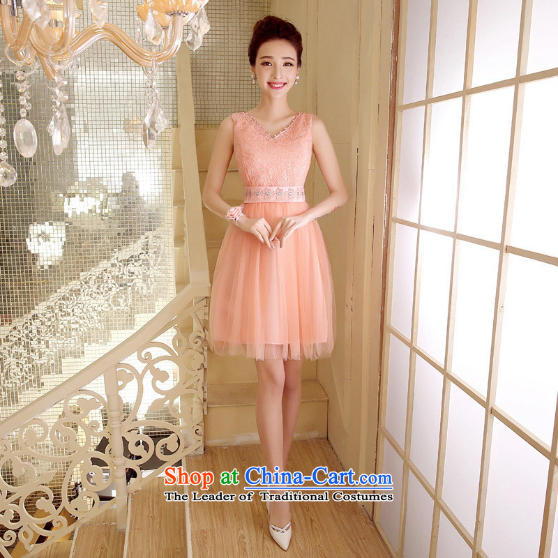 The bride's-hwan bows services bon bon skirt bridesmaid Dress Short) Moderator evening dress company annual meat pink are code