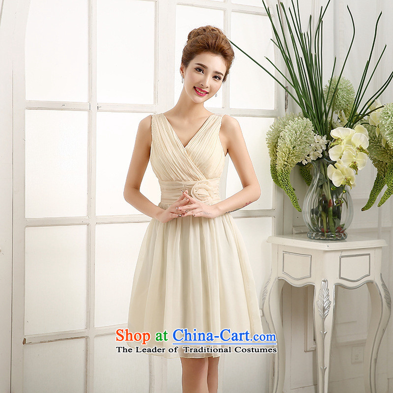 Mano-hwan's 2015 new bridesmaid Dress Short Lifting Strap, Small dress skirt dinner drink service bridesmaid short skirts, champagne color聽XL