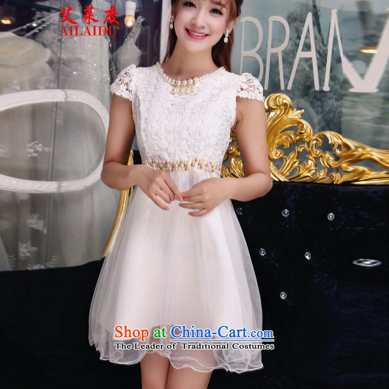 The Aileu degrees fall 2015 new temperament Sau San V-Neck lace dresses stitching irregular dresses JMB156-B_980 white?S