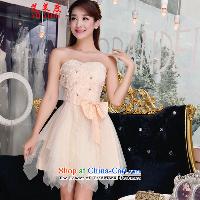 The Aileu degrees fall 2015 new products covered shoulders stylish lace dresses temperament Sau San booking pearl dresses JKMB156-B_958 YELLOW�L