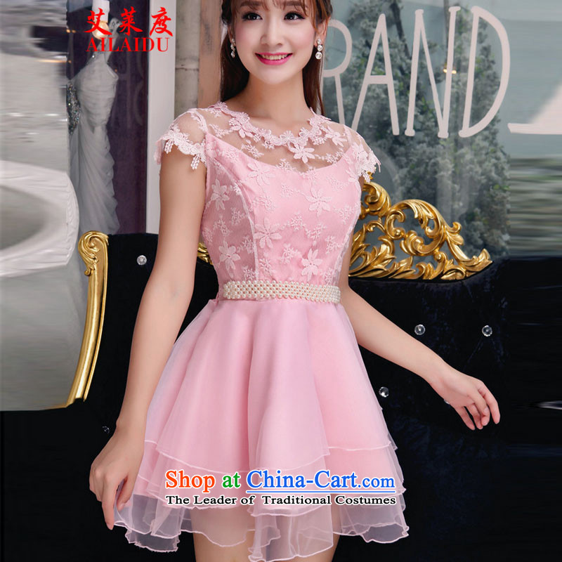 The Aileu degrees fall 2015 new Korean sweet lace dresses and sexy beauty dresses JMB156-B-001 pink?M