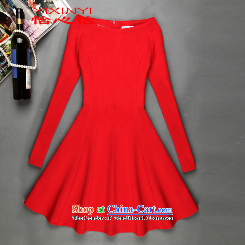 Yi Hsin Yi 2015 Autumn replacing new Wild word for small-wind in cuff dress dresses female red S