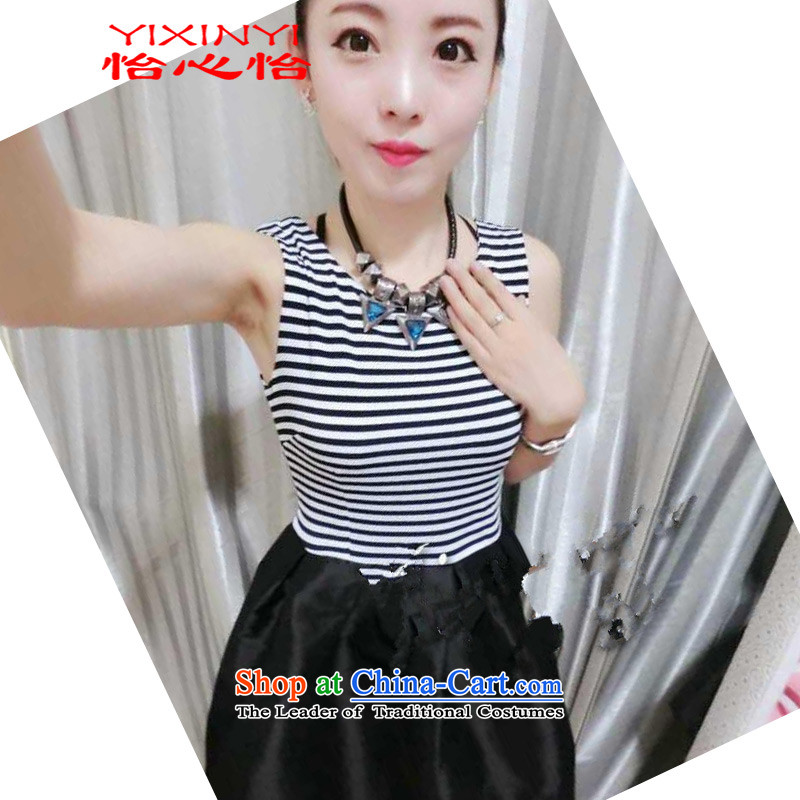 Yi Hsin Yi?2015 Summer new stylish Sau San Foutune of small short-sleeved gown dresses female black?L
