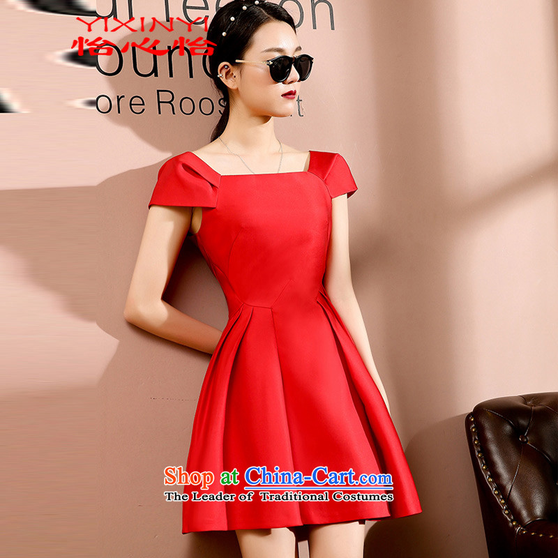 Yi Hsin Yi 2015 new Korean fashion the word   Graphics thin small red collar dress dresses female RED M