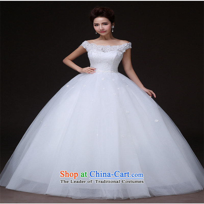The new 2015 HUNNZ stylish and simple spring and summer, align the Korean brides wedding dress code white?L