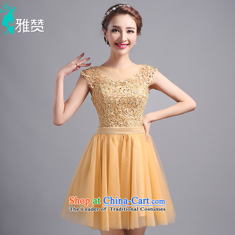 Jacob Chan Dress Short, on-chip video thin evening dress skirt the summer and fall of 2015 New bridesmaid services shoulder straps gauze fluoroscopy round-neck collar straps_?S