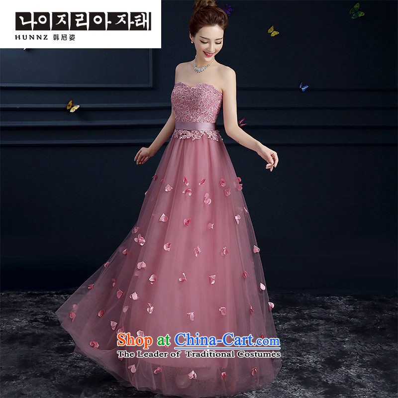 The new 2015 hannizi spring and summer is simple and stylish. The length of the red, and chest banquet bride wedding dress the usual zongzi color long?S