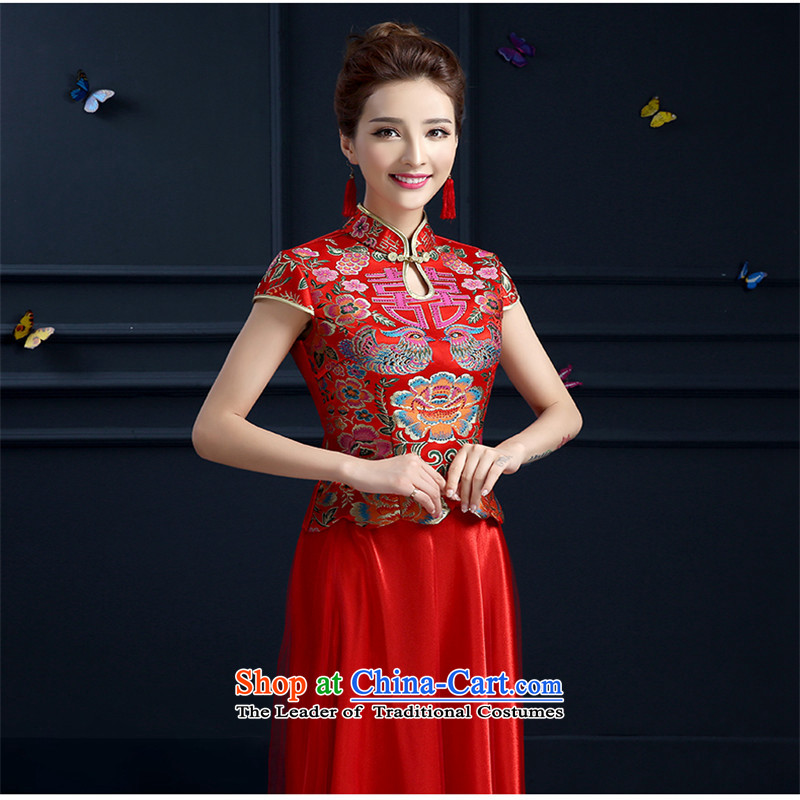 2015 Spring_Summer red hannizi long qipao new retro bows to Chinese bride dress red聽XXL