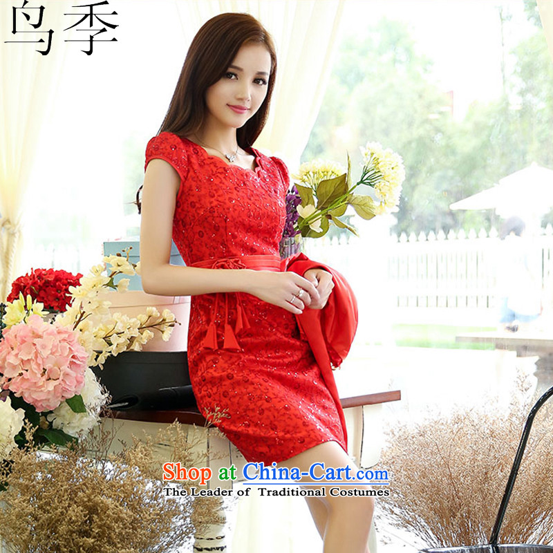 ?2015 autumn season bird female new Korean lace dress bows service daily dress dresses? L933?RED?M