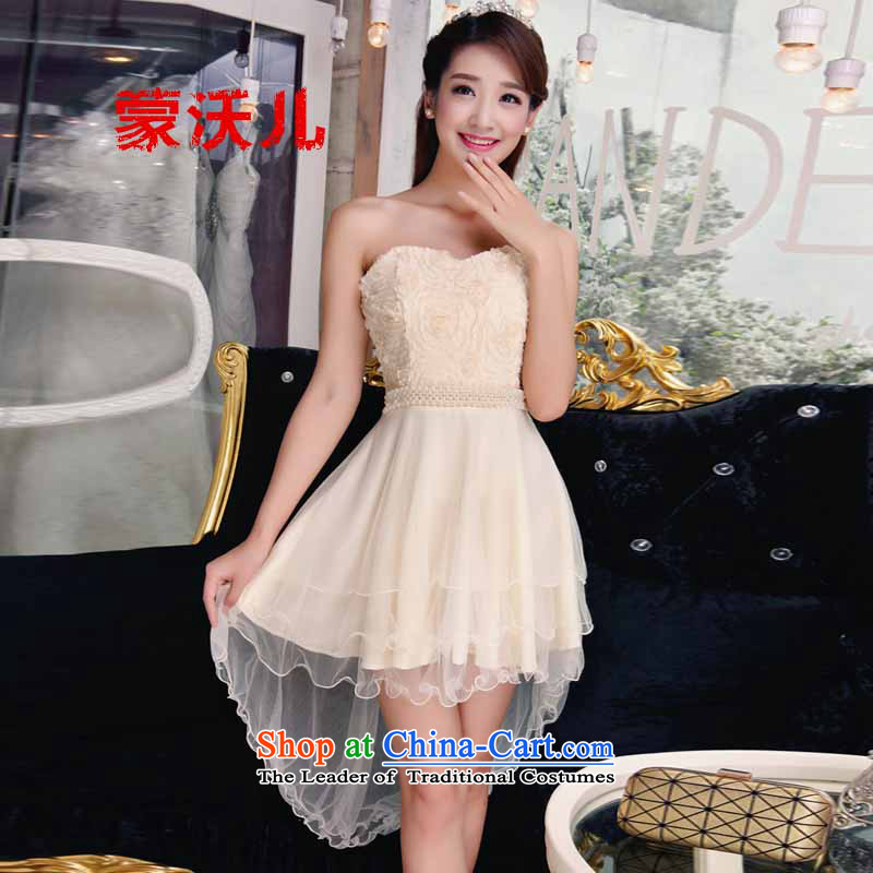Montevideo Kosovo's?2015 fish people new products covered shoulders stylish lace dresses temperament Sau San booking pearl dresses apricot?M